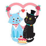 Two Cute Vector Cats. Card Design Elements With Cute Cats. Wedding Invitation Card. Royalty Free Stock Photos