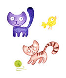 Two cute watercolor  kitten and a bird in the hand-drawn style. Royalty Free Stock Image