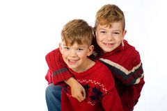 Two cute young boys Royalty Free Stock Photo