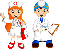 Two cute young doctor Royalty Free Stock Image