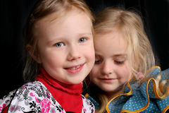 Two cute young girls Stock Photos