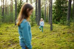 Two cute young sisters having fun during forest hike on beautiful summer day. Active family leisure with kids stock photos