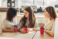 Two cute young women cheer up their sad friend. Friendship, help, support, care, attention, togetherness Stock Photography