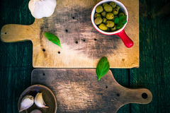 Two cutting board spices herbs Royalty Free Stock Images