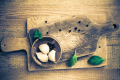 Two cutting board spices herbs Stock Photography