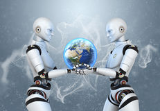 Two cyborgs holding the Earth in their hands Stock Photos