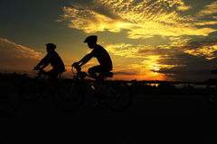 Two Cycling for Health. Silhouette stock images