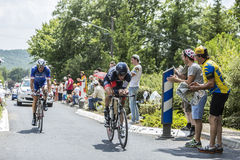 Two Cyclist During a Time Trail - Tour de France 2014 Stock Photography