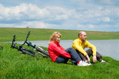 Two cyclists Royalty Free Stock Photos