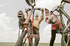 Two cyclists. Extreme biking outdoors royalty free stock image