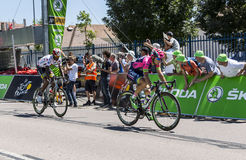 Two Cyclists of the Breakaway - Tour de France 2015. Argentan, France - July 10, 2015: Kristijan Durasek of Lampre Merida Team and Daniel Teklehaimanot of MTN Royalty Free Stock Photography