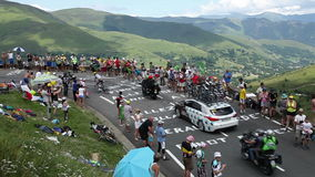 Two cyclists Climbing the Road to Col de Peyresourde - Tour de France 2014 stock video footage