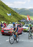 Two Cyclists on Col de Peyresourde - Tour de France 2014 Stock Image