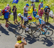 Two Cyclists on Col du Grand Colombier - Tour de France 2016 Royalty Free Stock Image
