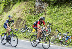 Two Cyclists on Col du Tourmalet - Tour de France 2014 Stock Image