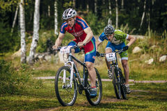 Two cyclists compete Stock Image