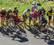 Two Cyclists on Grand Colombier - Tour de France 2016 Stock Images