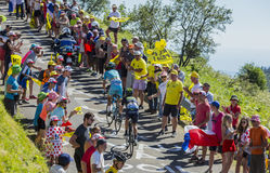 Two Cyclists on Grand Colombier - Tour de France 2016 Royalty Free Stock Photos