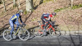 Two Cyclists - Paris-Nice 2017 Royalty Free Stock Photography