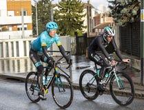 Two Cyclists - Paris-Nice 2018 stock photos