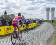 Two Cyclists - Paris Roubaix 2016 Stock Photo