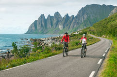 Two cyclists relax biking Royalty Free Stock Photo