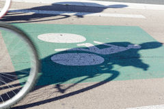 Two cyclists ride the bike path Stock Photo