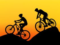 Two cyclists silhouette extreme biking stock illustration
