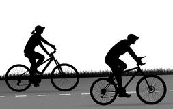Two cyclists silhouette vector Stock Photography