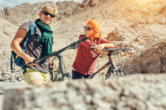 Two cyclists traveler are in mountain Royalty Free Stock Photo