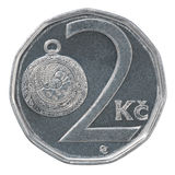 Two czech koruna coin Stock Images