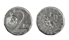 Two Czech koruna 2003. Isolated object on a white background. Coins, Numismatics Royalty Free Stock Photography
