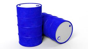 Two 3D blue drums/barrels Royalty Free Stock Image