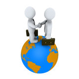 Businessmen agree on top of the earth. Two 3d businessmen shake hands on top of the globe stock illustration