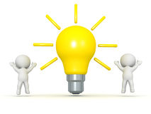 Two 3D Characters Cheering and Large Light Bulb Royalty Free Stock Images