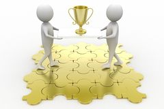 Two 3D Characters holding Golden Trophy Royalty Free Stock Photos