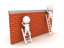Two 3D Characters, one manages to climb over wall another one ca Stock Image