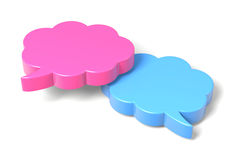 Two 3D Clouds Speech Bubble. Blue and Pink Empty Blank 3D Comic Speech Bubbles Cloud Shape on White Background Stock Photography