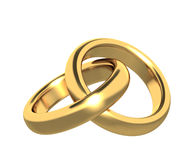 Two 3d gold wedding ring Stock Photography