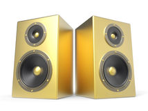 Two 3D golden speakers Stock Images
