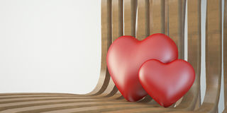 Two 3d heart on wooden chair, valentine day concept Royalty Free Stock Photography