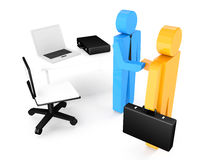 Two 3d humans give their hand for handshake , work table. 3d ill Royalty Free Stock Photography
