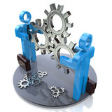 Two 3d humans keep gears in hands. In the design of access to information relating to the business and work in a team royalty free illustration