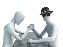 Two 3d man doing arm wrestling Royalty Free Stock Photography