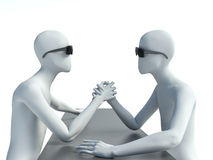 Two 3d man doing arm wrestling Stock Image
