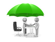 Two 3d man - people shaking hands under a green umbrella Stock Photos