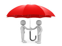 Two 3d man - people shaking hands under a red umbrella Stock Photo