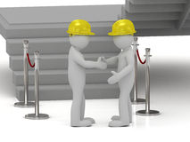 Two 3d man in yellow construction helmets shaking hands Stock Images
