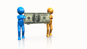 Two 3D men carrying a dollar. Against a white background stock video