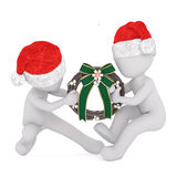 Two 3d men having a tug of war over a wreath Royalty Free Stock Photography